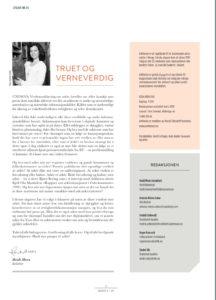 Side 2 i Arkheion med leder og kolofon. Lederen har overskriften Truet og verneverdig og har bilde av redaktøren