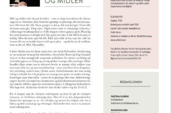 Side 2 i Arkheion med leder og kolofon. Lederen har overskriften Mål og midler og har bilde av redaktøren